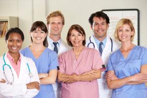 six medical staff smiling